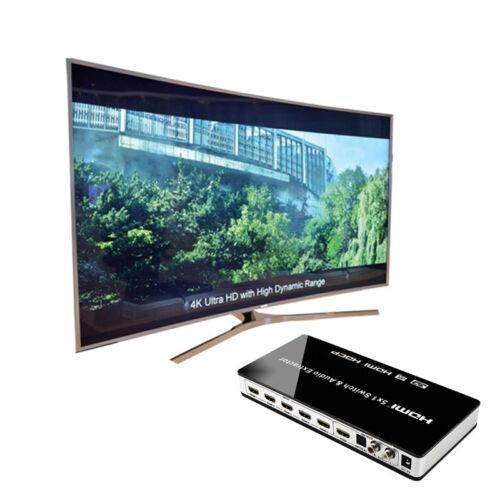 5x1 HDMI Switch Audio Extractor 4K x 2K HDMI Video Switcher Wireless Remote TV