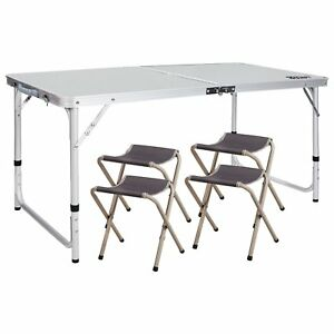 REDCAMP Folding Camping Table with Chairs Adjustable Portable Picnic BBQ Table