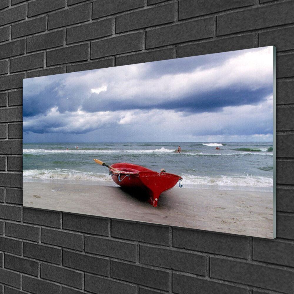 Image sur verre Tableau Impression 100x50 Paysage Mer Plage Bateau