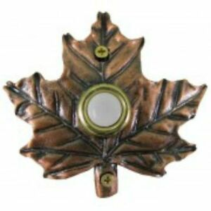 Lighted-Decorative-Doorbell-Bronze-Plated-Maple-Leaf-Doorbell
