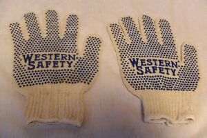 RARE-VINTAGE-WESTERN-SAFETY-ADVERTISING-WORK-WORKING-GLOVES-CLOTHING-W-BLUE-DOTS