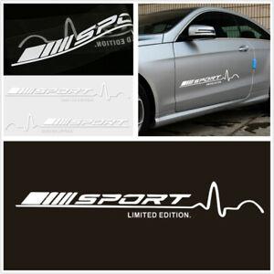 2-Pcs-Vinyl-White-Sport-78cmx11-5cm-Car-Body-Door-Side-Decal-Graphics-Stickers