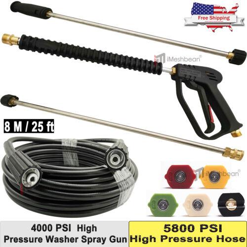 2 Wand//Lance Nozzle/& Hose Kit 4000 PSI M22 iMeshbean Pressure Washer Spray Gun