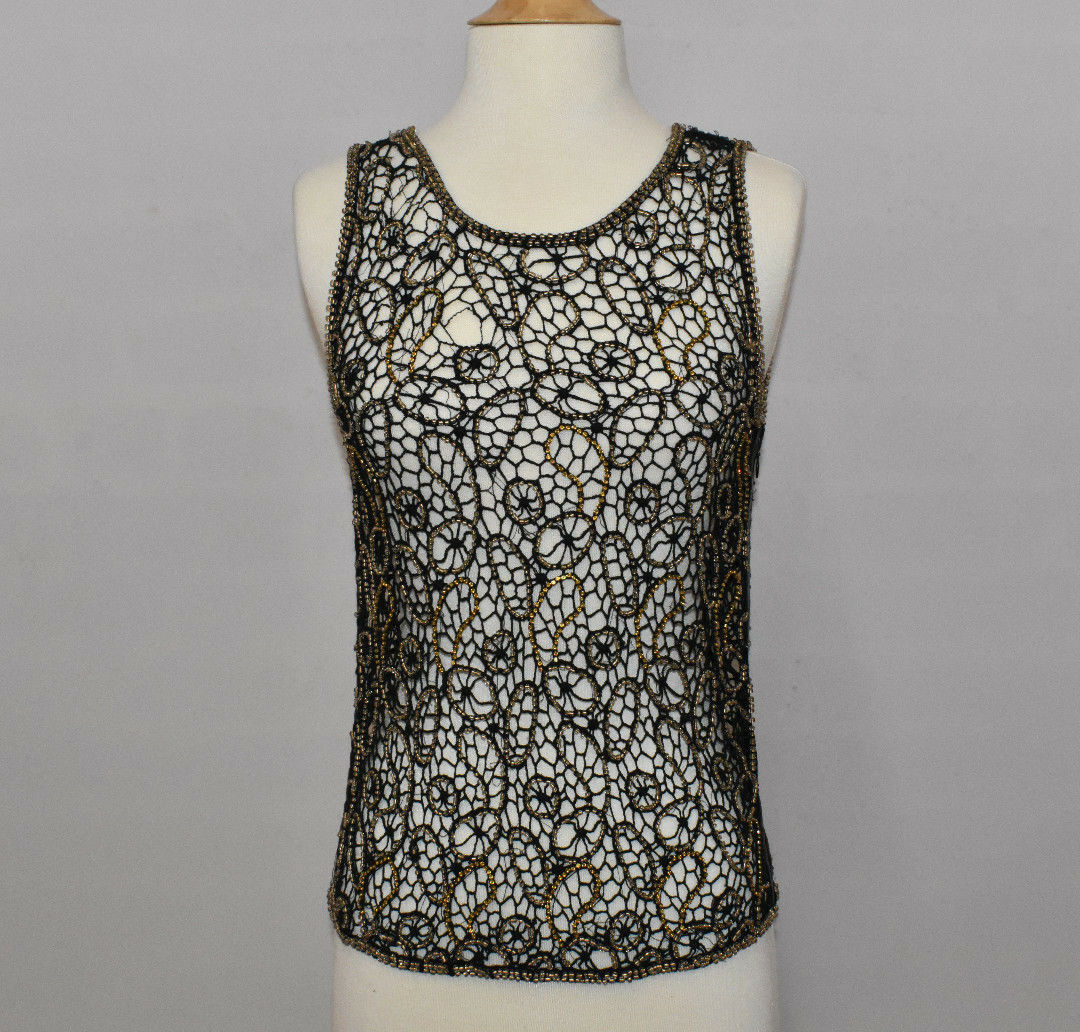 CECILIA DE BUCOURT WOMENS ANTIQUE CUT OUT BEADED TOP SIZE SMALL MEDIUM