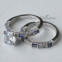 2.7ct Tanzanite Cz Purple Bridal Wedding Engagement Ring Band Set Women's Size 8