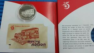 1998 Singapore 25th Anniversary of Singapore Bus Services Silver Proof Medallion