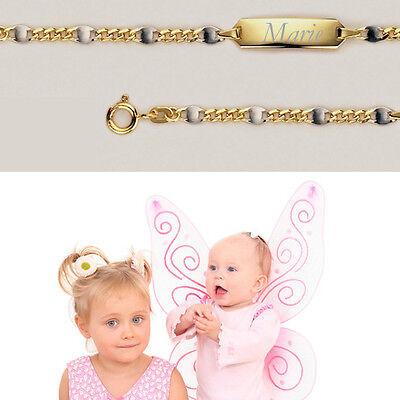 Baby Taufe Armband Bicolor Gelb 14 Kt Gold 585 mit Gravur Name /& Datum Weiß