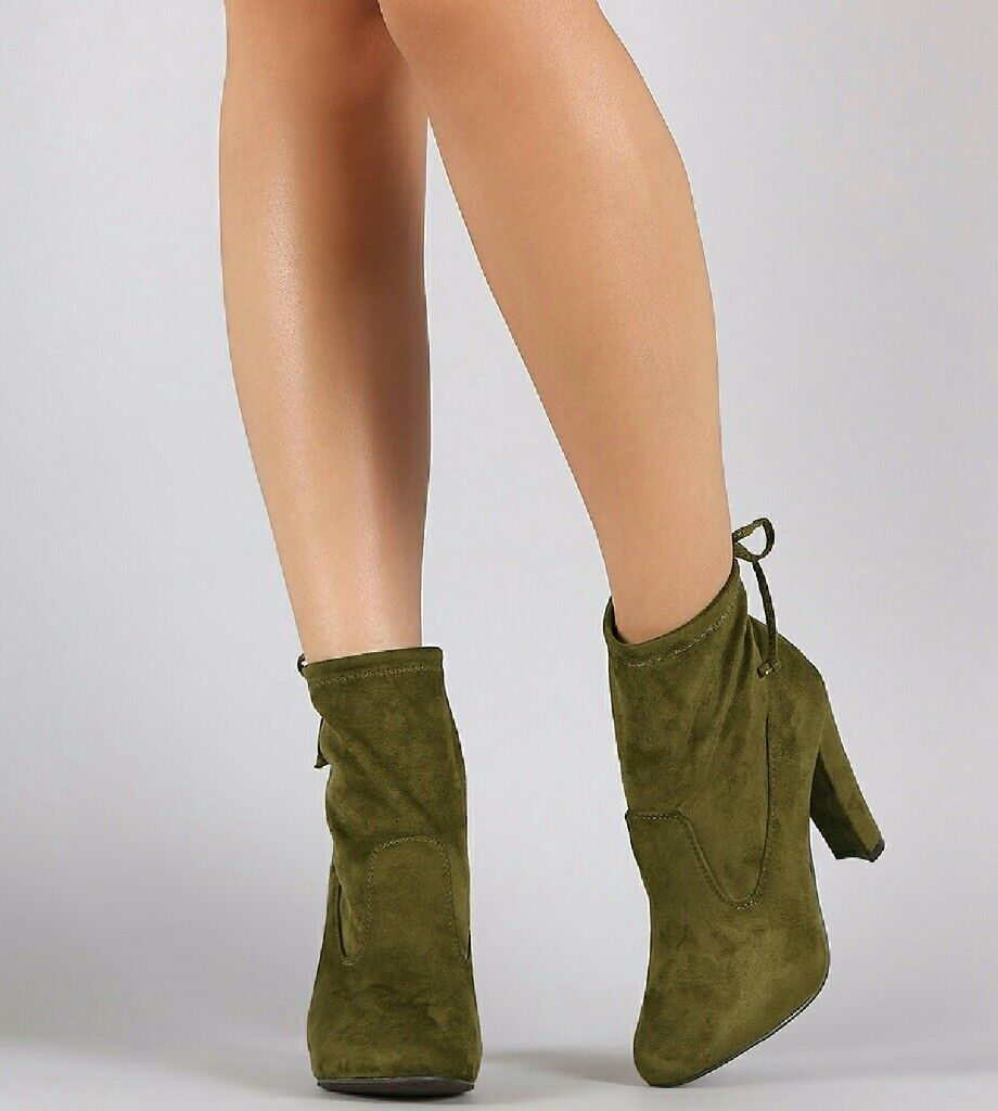 NEW IN BOX WOMEN'S BOOTIES Rear Tie COLOR OLIVE SIZE 6.5