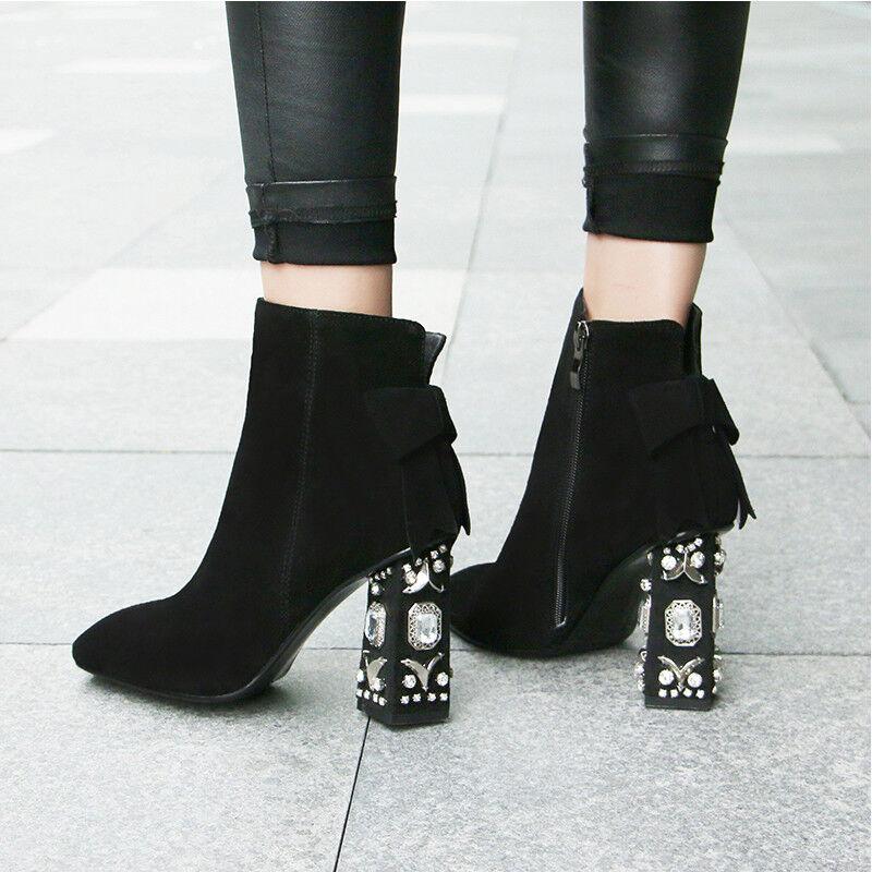 Mujer Estrás Bloque De Cuero De Tacón Alto Puntera en Punta botas al Tobillo Zapatos Plus Y7