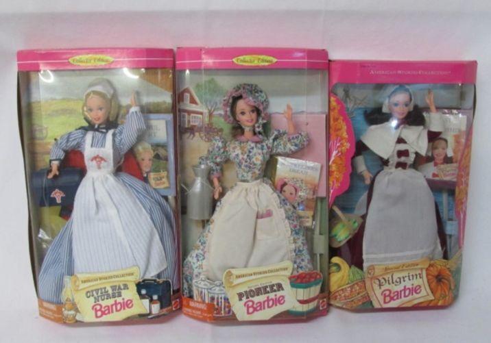 Colección De Barbie histórico Peregrino-Pioneer-enfermera de guerra civil-Juego de 3 Nuevo