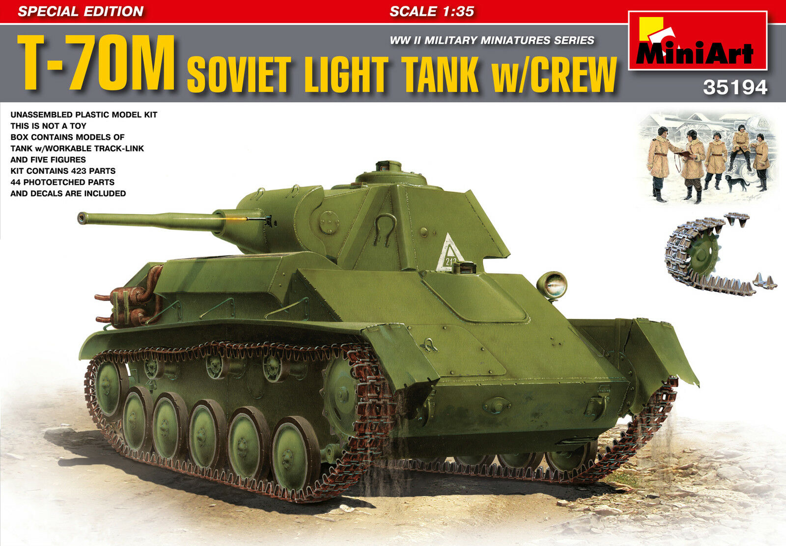 CHAR LEGER SOVIETIQUE T-70M + EQUIPAGE - KIT MINIART 1 35 n° 35194