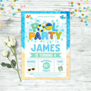 Image Is Loading POOL PARTY INVITATIONS BIRTHDAY SUMMER SUPPLIES