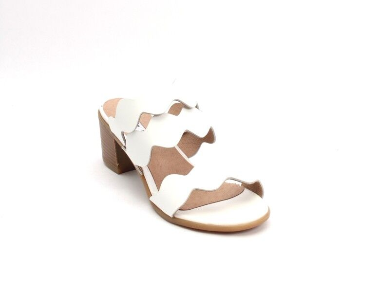 Donna Piu 53090 White Pelle Open-Toe Strappy Slides Sandals 40 / US 10