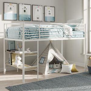 Kids Metal Twin Loft Bunk Bed With 2 Open Shelves Under Bed Desk Storage White Ebay