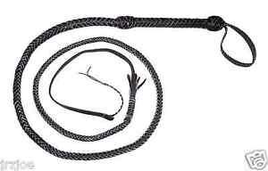 6-foot-long-10plait-BLACK-Indiana-Jones-Stuntman-Bull-Whip-Real-leather-Bullwhip