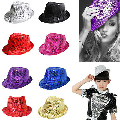 Adults Kids Unisex Sequin Fedora Trilby Jazz Hat Glitter Party Cap Fancy Costume