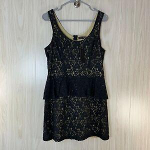 NWT HeartSoul Lace Mini Cocktail Dress Women's Size L Black Ruffle Peplum