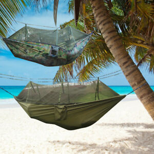 Fast Deliver Portable Camping Hanging Hammock Mosquito Net Outdoor Fabric Parachute Bed Travel Furniture Hammocks 100% Original Bedding Sets Home & Garden