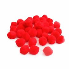25 x Red 20mm Fluffy Yarn Pom Poms For Sewing Cardmaking /& Crafts Y13655