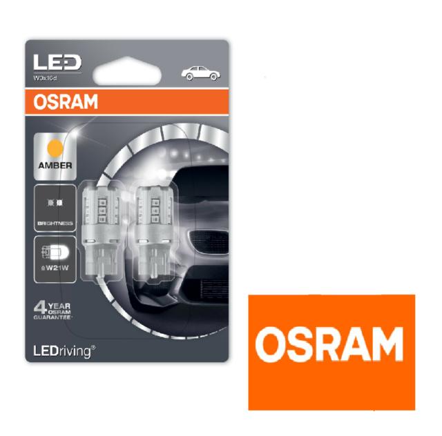 OSRAM 7705YE-02B LEDriving W21W Amber LED Indicator Car Light Bulbs - Twin Pack