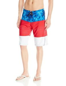 49bcc03740 MENS BURNSIDE RED WHITE BLUE VORTEX STRETCH SWIM SHORTS BOARDSHORTS ...