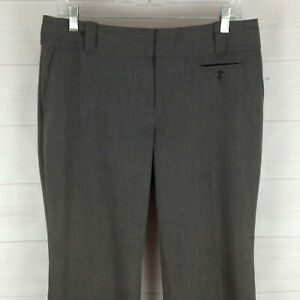 Ann-Taylor-LOFT-womens-size-8-stretch-gray-flat-front-mid-rise-wide-career-pants
