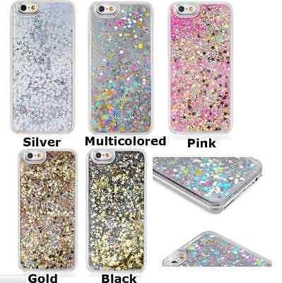 Glitter Bling Stars Liquid Hard Back Phone Case Cover For iPhone  5 6 6s Plus