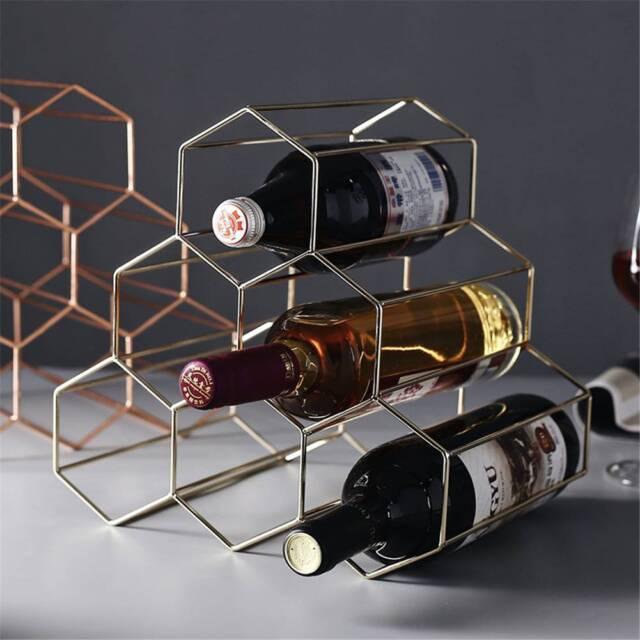 Display Shelf 6 Bottle Wine Rack Metal Bottles Holder Storage Stand Gold