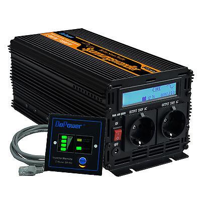 Spannungswandler 12V auf 230V Sinus Wechselrichter 1500W 3000 Watt LCD Kabel