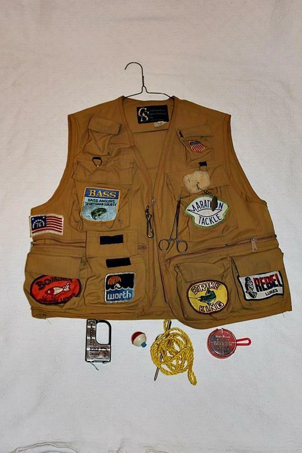 Rare Fishing Vest Loaded with Vintage Hard to find Patches and More-LOOK -RL