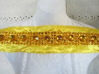 17 1/2 Jewels - Gems Beads On Satin Band Applique Bright Yellow - Gold