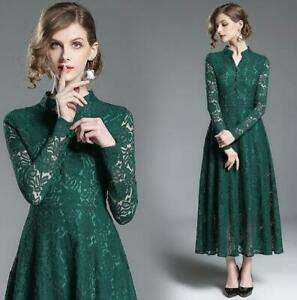 NEW-spring-women-039-s-fashion-temperament-lace-hollow-out-long-sleeve-Green-Dresses