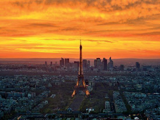 AG   Coucher de soleil depuis PARIS-MONTPARNASSE tableau prêt 60x80 Mural Paris