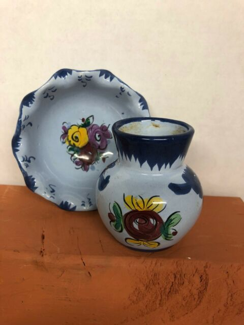 Portugal Vintage Handpainted Blue Floral Small Ceramic Bowl & Vase