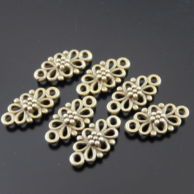 120pcs Vintage Bronze Tone Alloy Cute Hollow Flower Jewelry Connector 36865GC