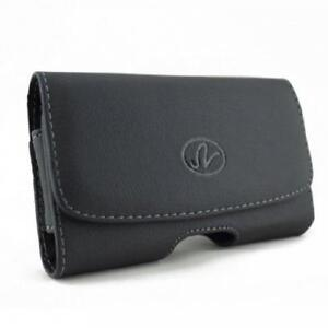 BLACK LEATHER PHONE CASE SIDE COVER POUCH BELT CLIP w LOOPS D07 for SMARTPHONES