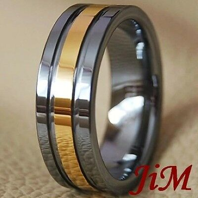Tungsten Wedding Ring 18K Gold Mens Band Bridal Jewelry Size 6-15