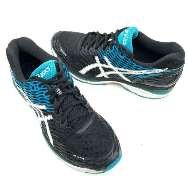 Men's Asics Gel Nimbus 18 Size 10.5 Blue Black Training Running Shoes