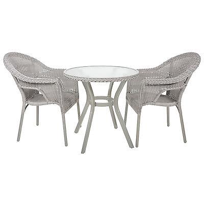Havana 3 Piece Rattan Bistro 2 Seater Garden Outdoor Furniture Table & Chair Set