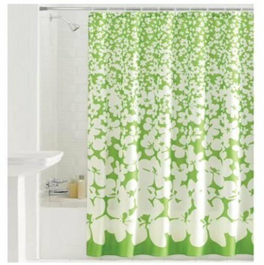 Green & White Abstract Floral Fabric Shower Curtain Gardener Street Shabby Chic