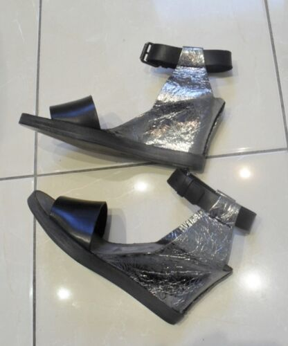 37 4 BUTTERO Sandals Black and Silver All Leather Made in Italy