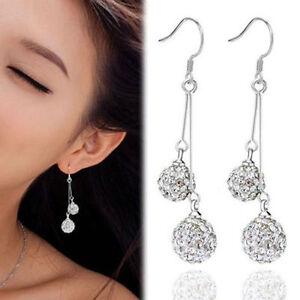 Women-Silver-Plated-Crystal-Ear-Stud-Earrings-Hook-Dangle-Fashion-Jewelry-New