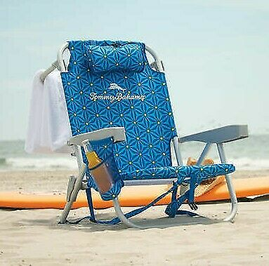 2020 Tommy Bahama Folding Backpack Beach Chair ,5 Positions , Adjustable Pillow