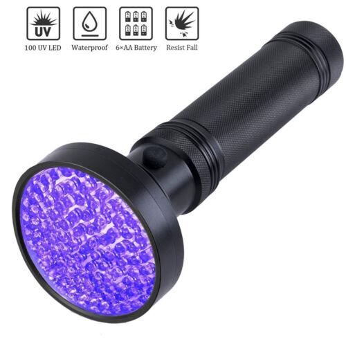 100LED UV Ultra Violet Blacklight Flashlight Torch Inspection Light Accessories