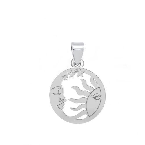 Sonne Mond /& Sterne Rosa Herz Zirkonia ANHÄNGER HALSKETTE 925 Echt Silber