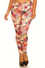 Plus Size Leggings XL-2X Polyester Spandex ALWAYS Floral Animal Leopard Print
