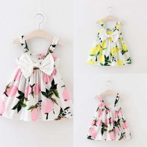 Hot Toddler Kid Baby Girl Lemon Floral Casual Summer Dress Sundress Clothes 0-3T