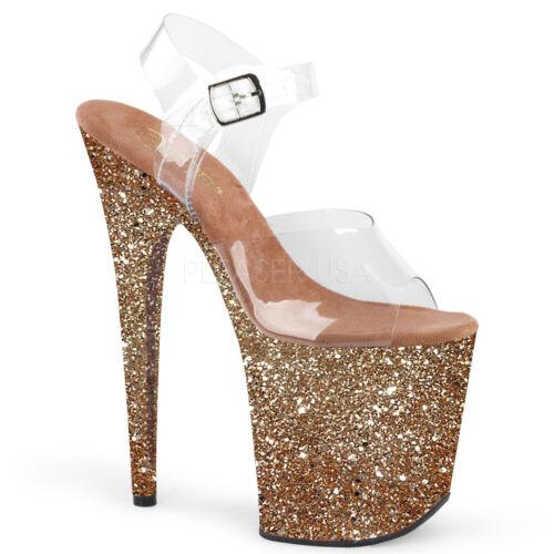 "8/"" Purple Glitter Stripper GoGo Dancer Extreme High Platform Pleaser Heels Shoes"