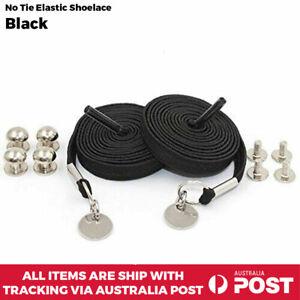 No Tie Shoelace Flat Elastic Loop Shoe Lace Sport Sneakers Unisex Black