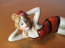 Vintage BATHING BEAUTY Swimsuit Lady Woman Bisque Porcelain Art Deco Art-Nouveau